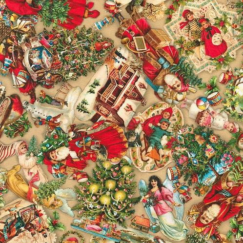 Ornaments Vintage Christmas Fabric
