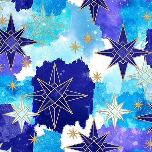 Magical Galaxy Stars Fabric with Metallic