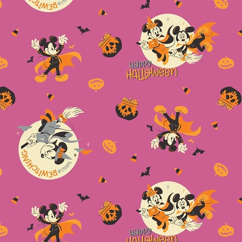 Disney Mickey and Minnie Mouse Bewitching Halloween Fabric - Pink