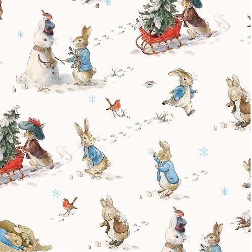 Fun in the Snow Peter Rabbit Christmas Fabric