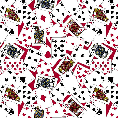 Red Playing Cards Fabric