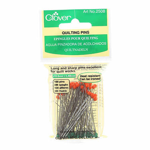 Clover Quilting Glass Head Pins 1 7/16in 100ct