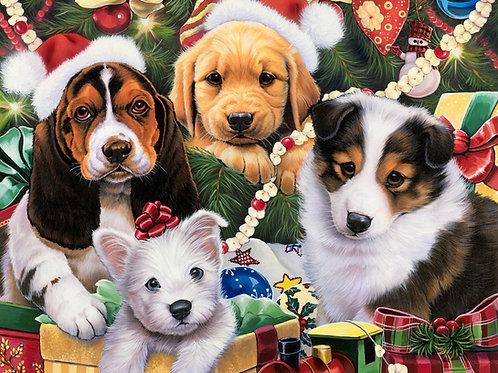 Puppy Surprise Christmas Panel