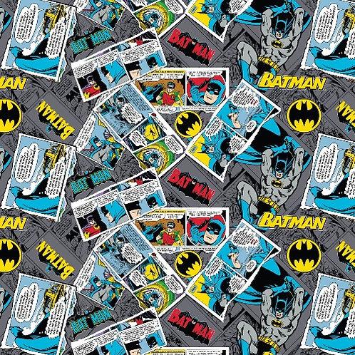 Grey DC Batman Collage Fabric