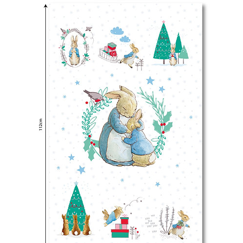 Peter Rabbit Christmas Fabric Panel