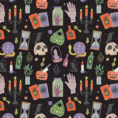 Mystical Halloween Objects Fabric