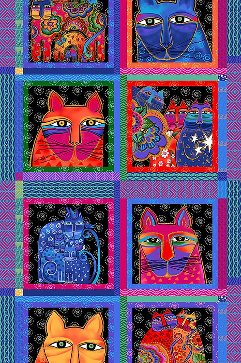 Feline Frolic Blocks Fabric Panel - Metallic