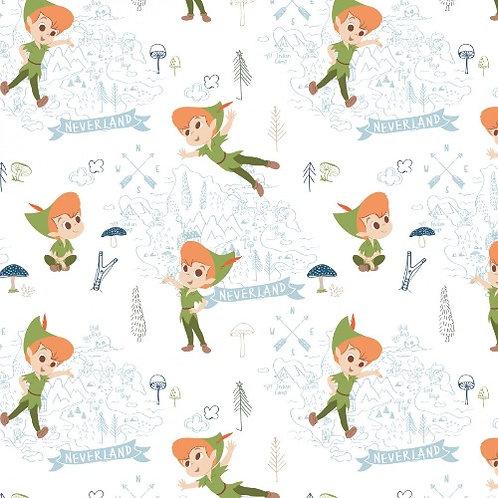 Disney White Peter Pan Neverland Adventures Fabric