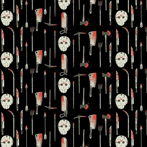 Friday The 13th Weapons and Masks Halloween Fabric