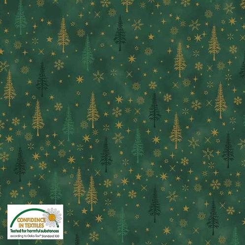 Stof Green Trees Christmas Fabric