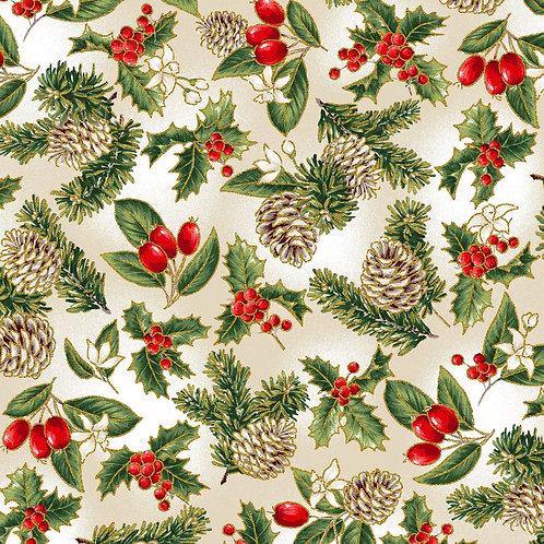 Multi Pine Cones Christmas Fabric with Metallic