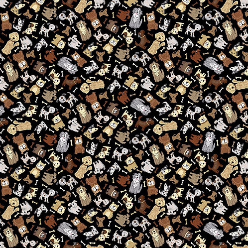 Black Mini Neutral Dogs Fabric