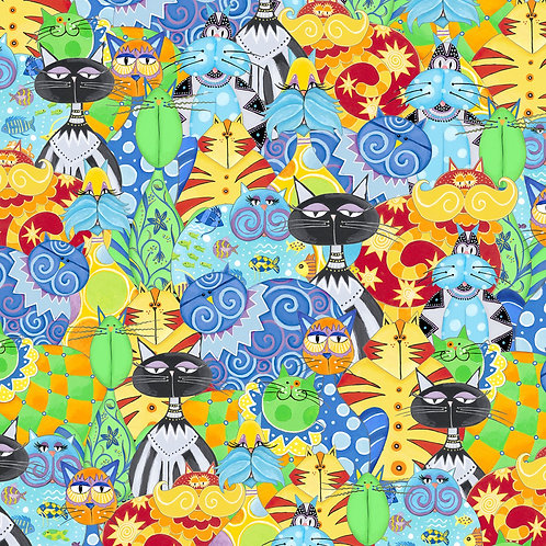 Catmosphere Packed Cats Fabric
