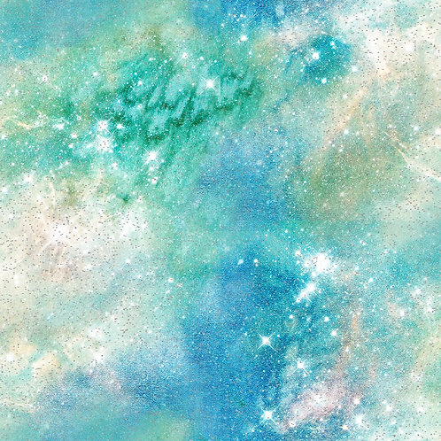 Magical Galaxy Green Airglow Fabric with Glitter