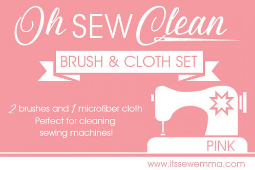 Oh Sew Clean Brush and Cloth Set - Pink