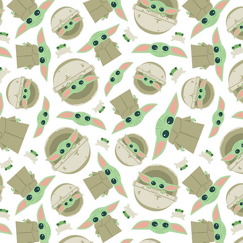 FLANNEL - Star Wars Mandalorian Yoda Child and Frog Fabric - White
