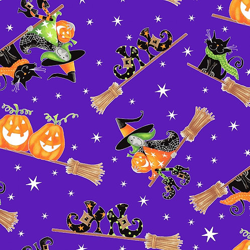 Here We Glow Purple Flying Witches Glow In The Dark Fabric