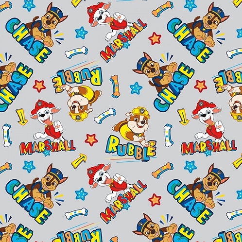 Paw Patrol Chase, Marshall and Rubble Fabric - Grey