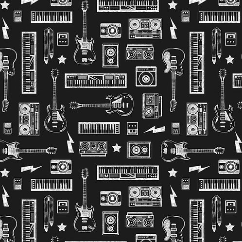 Black Sabbath Guitars, Amps and keyboards Fabric