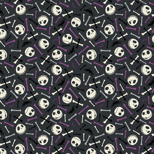 FLANNEL - Nightmare Before Christmas Purple Skull & Bones Flannel Fabric