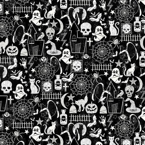 Halloween Glow in the dark black fabric