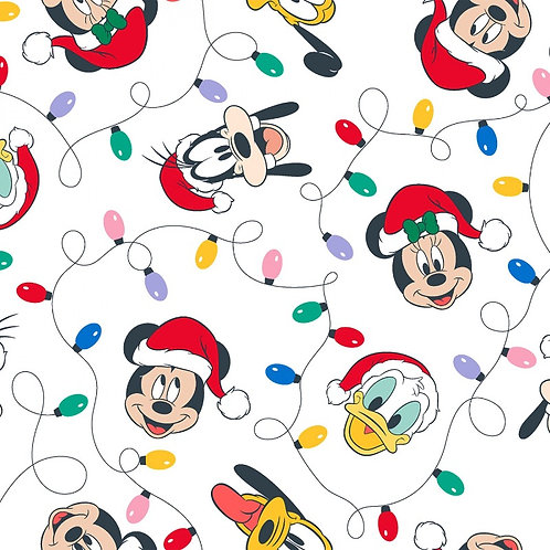 Disney Mickey Mouse and Friends Christmas Lights Fabric