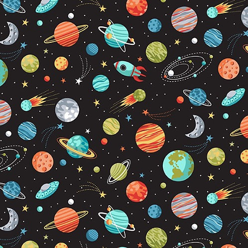 Black Outer Space Planet Fabric