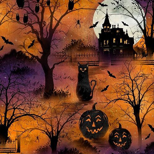 Frightful Night Orange Halloween Scenic Fabric