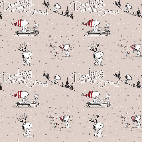 Dashing Through The Snow Snoopy Christmas Fun Fabric