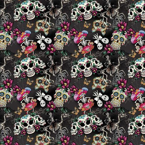 Day of the Dead Grey Fabric