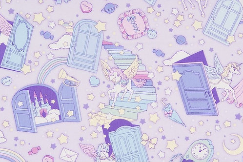 Fairy Tales II Lilac Doors Fabric
