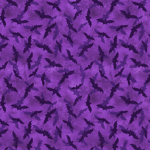 Frightful Night Purple Halloween Bats Fabric