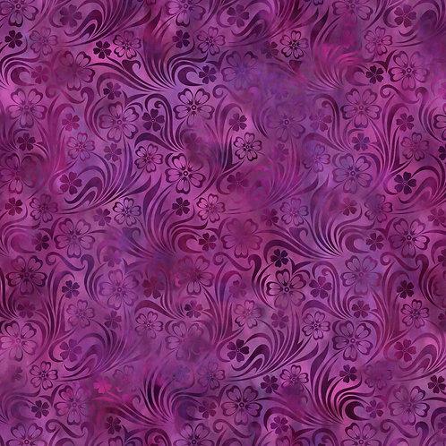 Rainbow of Jewels Floral Fabric - Magenta