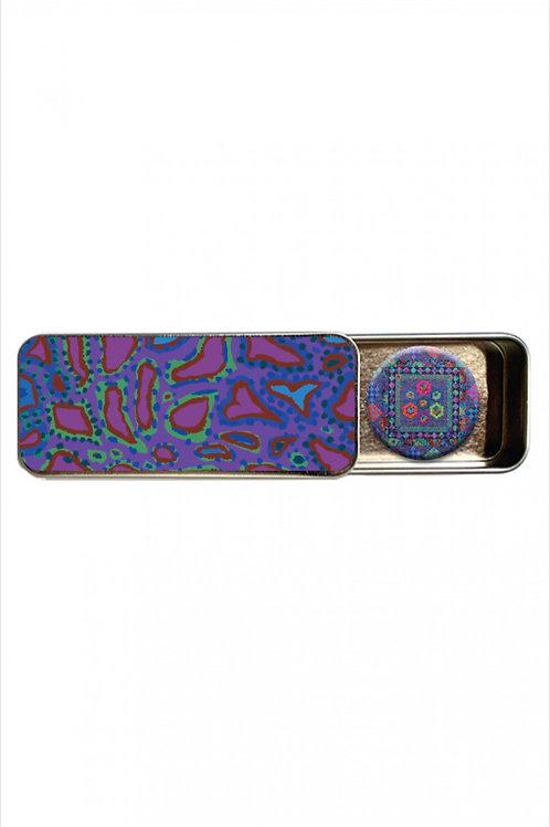 Kaffe Fassett Animal Purple Magnetic Needle Tin With Magnet