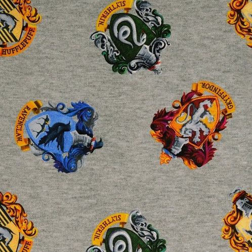 Harry Potter Houses Jersey Knit Fabric Grey