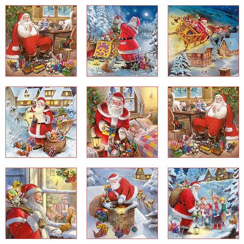 Santa Claus is Coming Blocks Christmas Fabric Panel