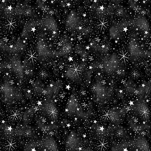 Black Silent Night Sky Fabric