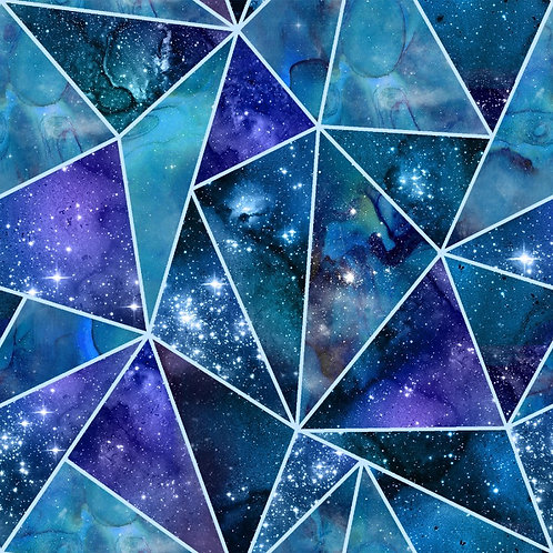 Magical Galaxy Fractured Fabric with Glitter