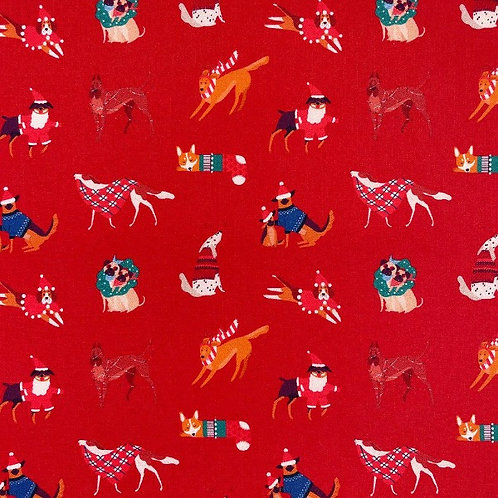 Christmas Dogs Red Fabric