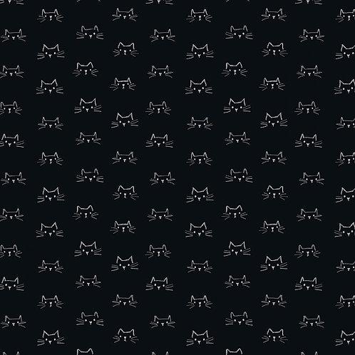 Soft Black Cat Faces Fabric