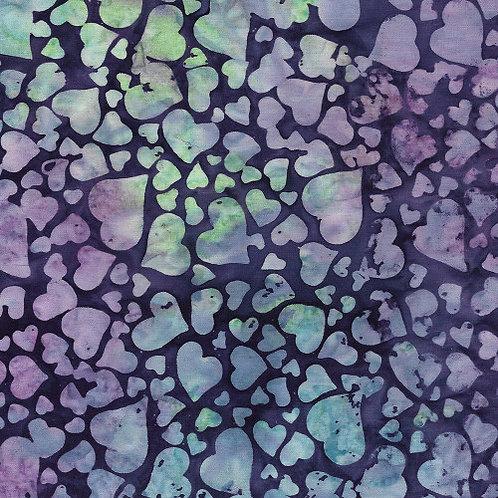 Island Batik Love and Kisses - Tossed Hearts Eggplant