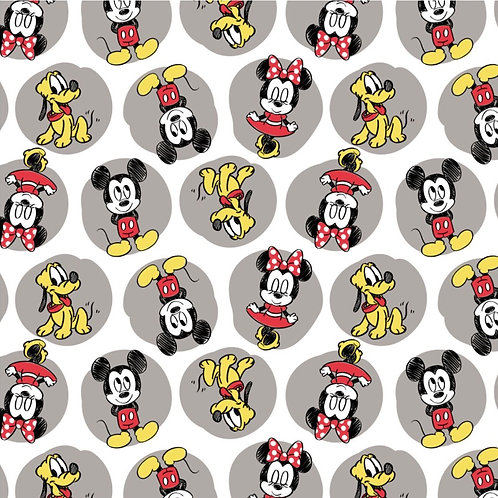 FLANNEL - Mickey, Minnie and Pluto Fabric - White