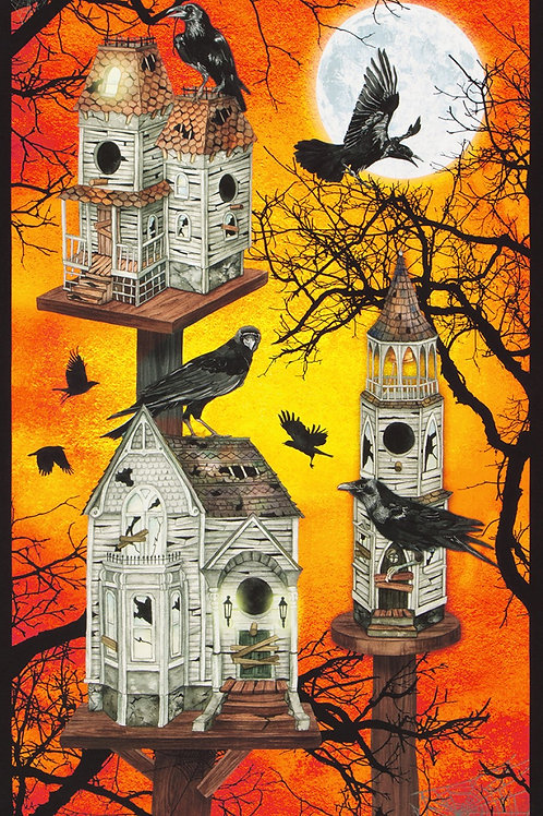 Pumpkin Raven Moon House Halloween Panel