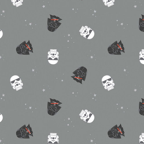 FLANNEL - Star Wars Darth Vader and Storm Trooper Flannel Fabric - Grey