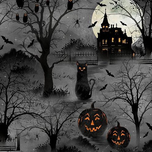 Frightful Night Black Halloween Scenic Fabric