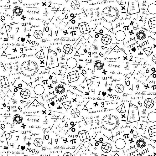 White Maths Fabric