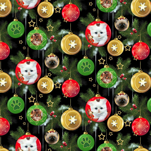 Fireside Kittens Ornaments Christmas Fabric