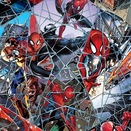 Marvel Spiderman Comic Web Mosaic Digitally Printed Fabric