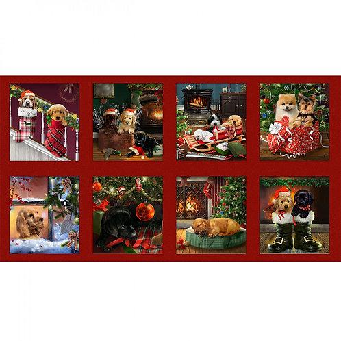 Fireside Pups Blocks Panel