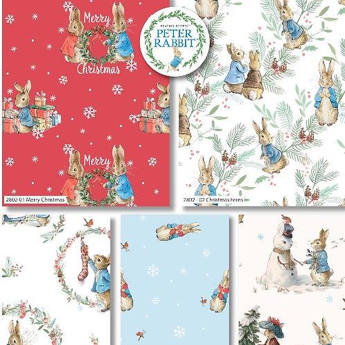 Peter Rabbit Christmas Fat Quarters x 5